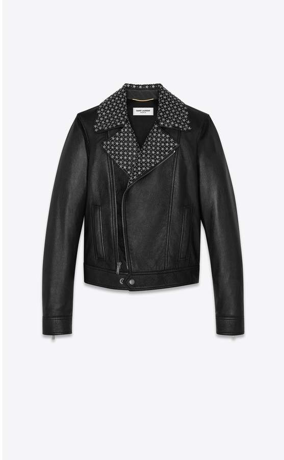 Saint Laurent Lambskin Biker Jacket With Star Studs On The Collar