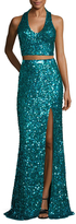 Mac Duggal Mesh Sequin Floor Length Gown