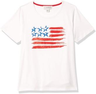 Sag Harbor Women's S/Crewneck Americana Wavy Flag Tee