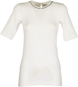Brunello Cucinelli Short Sleeve T-shirt Stretch Cotton Ribbed Jersey T-shirt With Shiny Tulle Insert Variations