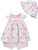 Offspring Floral Popover Bodysuit Dress & Hat Set (Baby Girls)