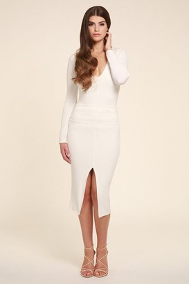 Honor Gold Jessica White Midi Dress With long Sleeves