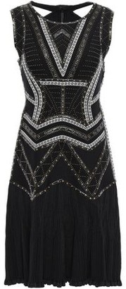 Herve Leger Alexia Cutout Embellished Bandage And Ribbed-knit Mini Dress