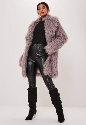 Missguided Premium Purple Shaggy Faux Mongolian Fur Coat