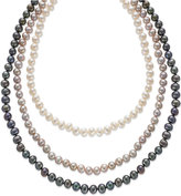 Belle de Mer Sterling Silver Pink White and Black Cultured Freshwater Pearl Three-Strand Set (6-7mm)