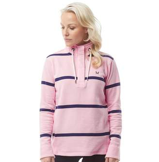 Crew Clothing Womens Toggle Wide Stripe Sweatshirt Pink/Navy