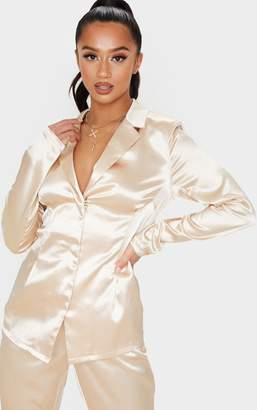 PrettyLittleThing Petite Champagne Satin Fitted Blazer