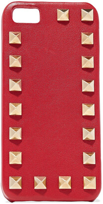 Valentino Studded Textured-leather Iphone Case