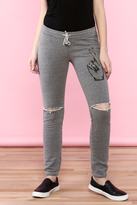 Lauren Moshi Gray Distress Sweatpants