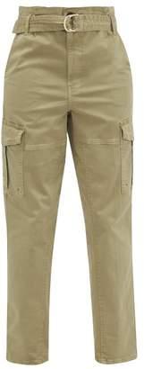 Frame Safari Belted Cotton-blend Twill Cargo Trousers - Womens - Khaki
