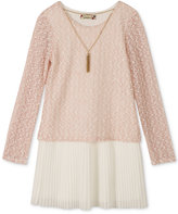 Speechless Boucle-Knit Pleated Dress & Necklace Set, Girls (7-16)
