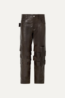 Bottega Veneta Intrecciato Leather Pants - Brown