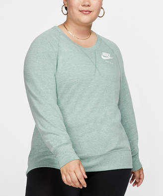 Nike Women's Sweatshirts and Hoodies Silver - Silver Pine & Sail Crewneck Sweatshirt - Plus