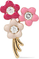 Alison Lou Bouquet Of Flowers 14-karat Gold, Diamond And Enamel Earring