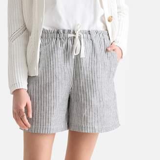 La Redoute Collections Linen/Cotton Tie-Waist Striped Shorts