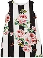 Dolce & Gabbana Kids' Rose-Print Cotton-Silk Brocade Dress