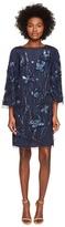 Marchesa 3/4 Sleeve Tunic Dress w/ Embroidery Detail Women's Dress