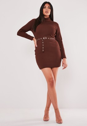 Missguided Plus Size Brown Roll Neck Belted Mini Dress