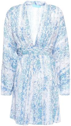 Melissa Odabash Eloise Tie-back Snake-print Voile Mini Dress