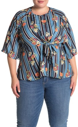 City Chic Floral Stripe Tie Front Blouse (Plus Size)
