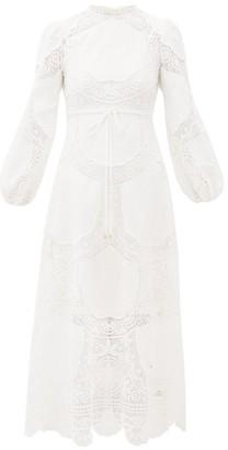 Zimmermann Bonita Floral-crochet Linen-blend Dress - Womens - Ivory