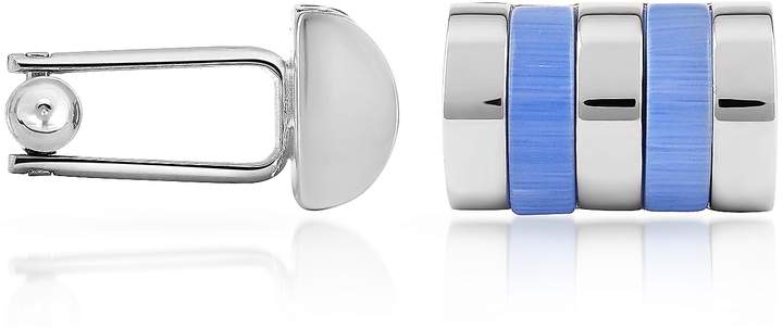 Forzieri Sky Blue Bands Silver Plated Cuff Links