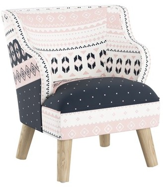 Skyline Furniture Kids Modern Chair in Nordic Sweater Navy Blush