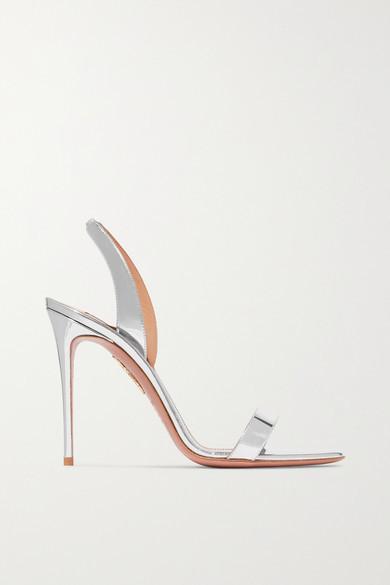 Aquazzura So Nude 105 Metallic Leather Slingback Sandals - Silver