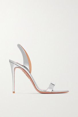 Aquazzura So Nude 105 Metallic Leather Slingback Sandals - Silver