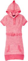 Dollhouse Coral & White Marled Hood Sweater Dress - Girls