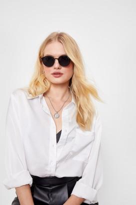 Nasty Gal Womens No Shade Tinted Round Sunglasses - Black