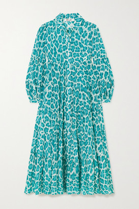 Diane von Furstenberg Kiara Tiered Leopard-print Cotton And Silk-blend Voile Midi Dress - Turquoise
