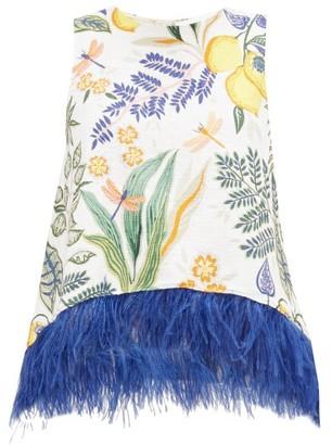 La DoubleJ La Scala Feather-trimmed Cotton-blend Top - Womens - Multi