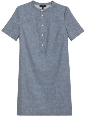 Theory Trapeze Chambray Mini Dress