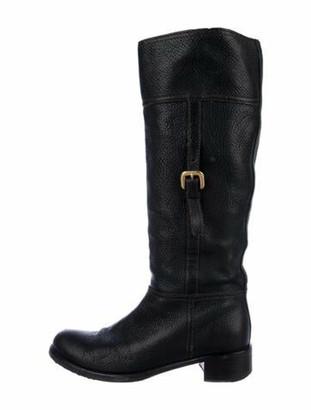 Prada Leather Riding Boots Black