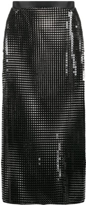 Christopher Kane Chainmail Side-Slit Midi-Skirt
