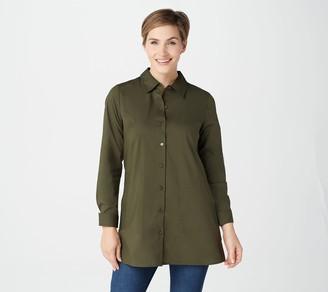 Denim & Co. Petite Stretch Poplin Duster Shirt