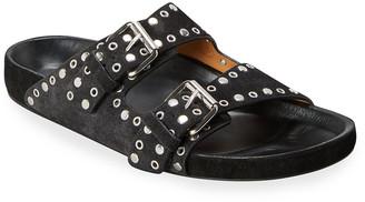 Isabel Marant Lennyo Studded Suede Slide Sandals