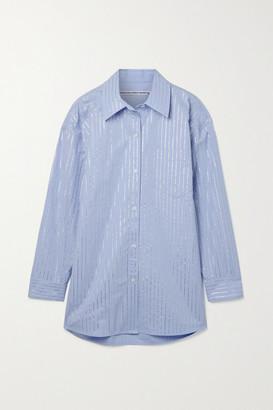 Alexander Wang - Athena Oversized Crystal-embellished Cotton-poplin Shirt - Light blue
