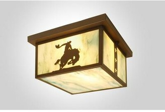 """Steel Partners 8 Seconds 1 - Light 14"""" Unique/Statement Square Flush Mount Finish: Rust, Shade Color: Amber Mica"""