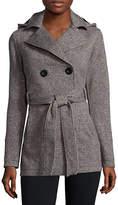 Liz Claiborne Belted Fleece Trench Pea Coat