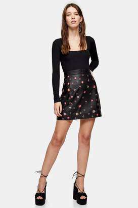Topshop Womens Black Leather Floral Embroidered Mini Skirt - Black