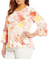 Calvin Klein Plus 3/4 Sleeve Floral Print Top