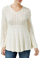 Style And Co. Petite Pointelle Babydoll Sweater