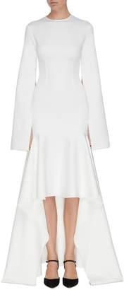 SOLACE London 'Myra' cape sleeve ruffle hem high-low maxi dress