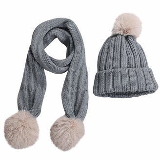 Tabpole Infant Toddler Winter Knitted Beanie Hat + Scarf Neck Warmer for 0-3Y Babies Grey