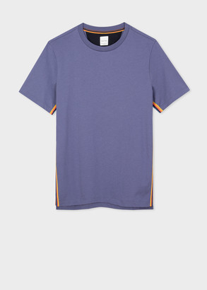 Paul Smith Men's Violet Organic-Cotton T-Shirt With 'Artist Stripe' Trim