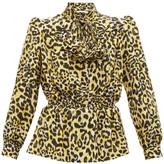 Gucci Leopard-print Silk Crepe De Chine Blouse - Womens - Black Yellow