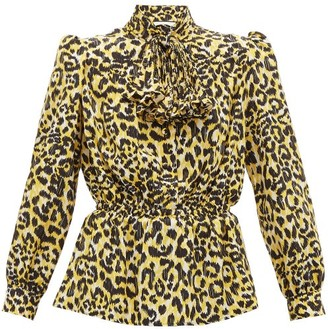 Gucci Leopard-print Silk Crepe De Chine Blouse - Womens - Black Yellow
