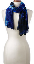 Lands' End Women's Starry Night Printed Scarf-Deep Sea Plaid